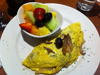 Create Your Own Omelet with smoked salmon, sauteed onions and wild mushrooms.