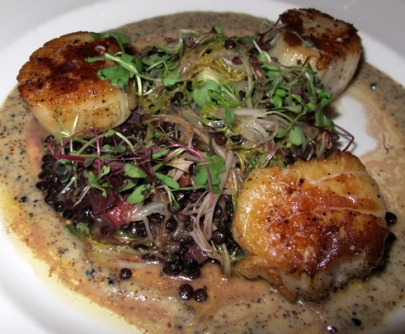 Seared Scallops with beluga lentils, beet and frisee salad, and truffle vinaigrette