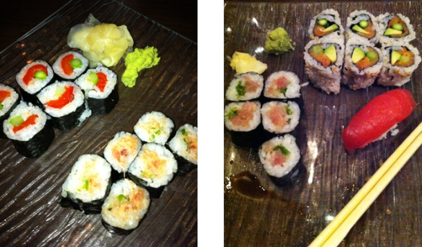 Left: Asparagus–Red Pepper and Spicy Tuna Maki; Right: Yellowtail and Green Onion and Smoked Salmon, Asparagus and Avocado