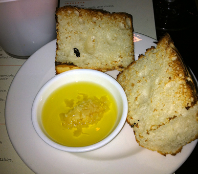 Toasted gluten-free bread with olive oil and garlic