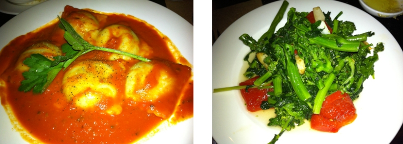 Left to right: Gluten-free Eggplant Ravioli with Marinara; Broccoli Rabe