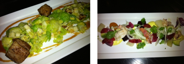 Brussel Sprout and Lobster Salads.