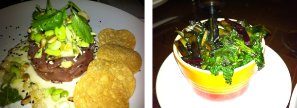 Left: Yellowfin Tuna Tartare; Right: Braised Greens