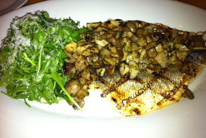 Loup De Mer with Mushrooms and Arugula