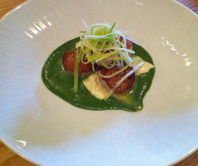 Seared Sea Scallops with Parsley Cream and Leeks