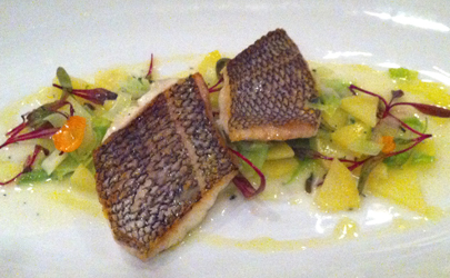 Pan Roasted Black Bass with Ragout of Potato and Thyme Butter Sauce