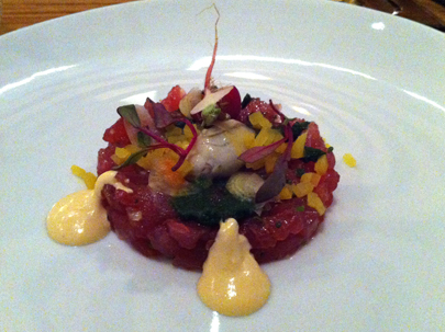 Tuna Tartar with Uni Sauce, Oyster, Pickeled Daikon and Kimchi Puree
