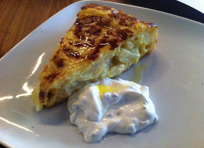 Potato Tortilla with Chive Sourcream
