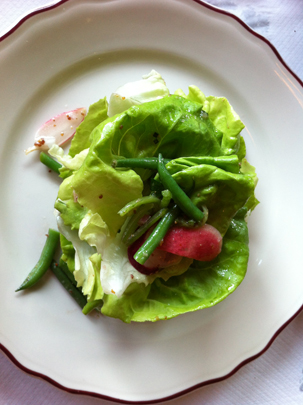 Salade Verte with haricots verts, radishes and red wine vinaigrette