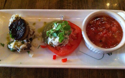 The Chesapeake Room: Seared scallops over mushroom risotto, crab stack, and watermelon gazpacho