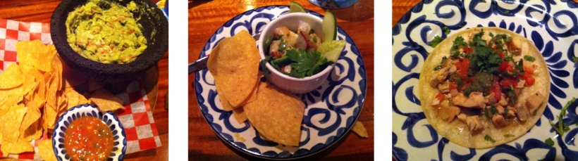 Pacifico Cantina: Chips and guacamole, shrimp ceviche, and chicken taco