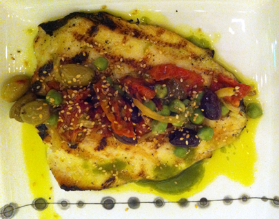 Evening Special: Grilled tilapia with Mexican chickpeas, roasted tomatoes, olives, sesame seeds, and a pesto vinaigrette