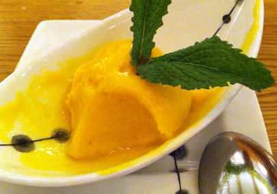 Mango sorbet with fresh mint