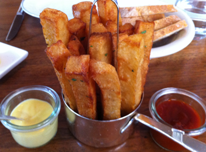 Hand Cut BDT Triple Fries with homemade aioli and ketchup
