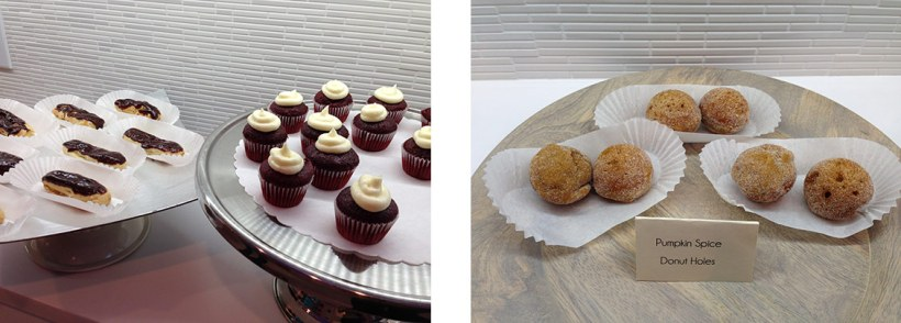 (Left to right) Mini eclairs, red velvet cupcakes, and pumpkin spice donut holes
