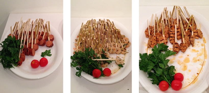 Mediteranean skewer bar with (left to right) chorizo, shrimp and chicken.