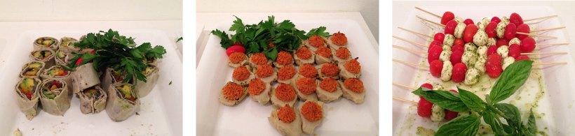 (Left to Right) Vegetable rollups; artichokes with sun-dried tomato; tomato, mozzarella and basil skewers.