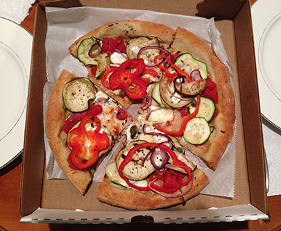 Siciliana with Paradiso Tomato, Zucchini, Eggplant, Capers, Minced Garlic, Oregano, Mozzarella, Pecorino, Sweet Peppers and Red Onion
