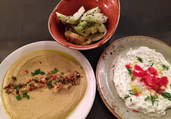 Tzatziki and ??? with tomato and kohlrabi