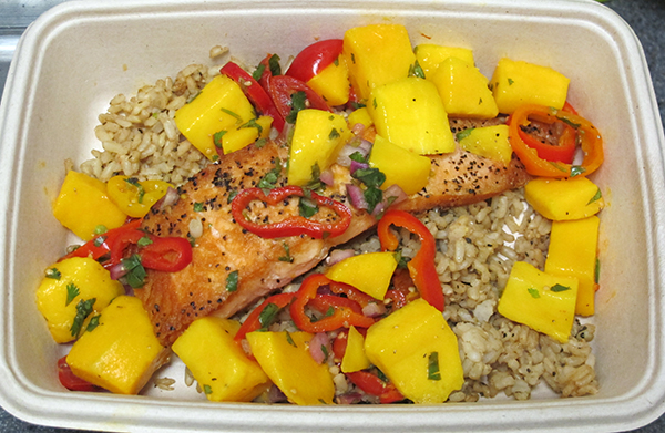 Salmon filet with mango salsa and brown rice