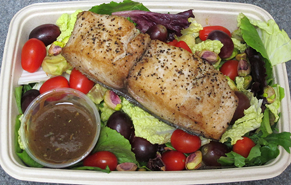 Napa salad with mahi mahi and balsamic vinaigrette