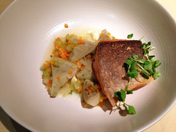 Artic Char with artichokes and lemon puree